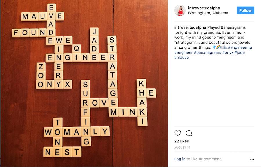 Instagram Bananagrams Post Sarah Jones - Introverted Men Are Attractive