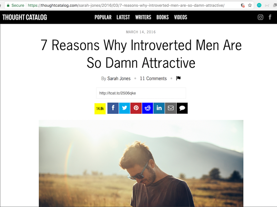 Thought Catalog 7 Reasons by Sarah Jones - Introverted Men Are Attractive