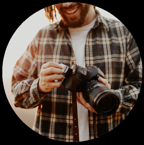 Man Holding Camera Circle
